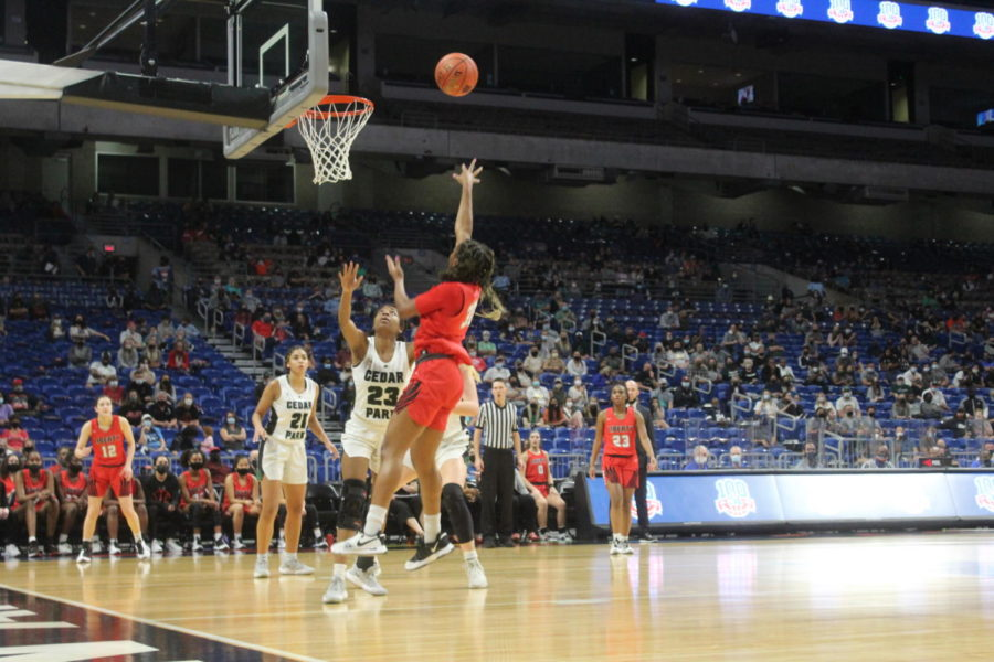Taking a short shot along the baseline, junior guard Jazzy Owens-Barnett and the rest of Redhawks trailing most of the game. However, the team was able to rally and trailed by just 1 with 2:40 left in the game before Cedar Park pulled away for the 46-39 win.