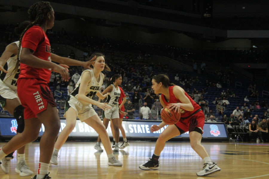 """Taking on the state's number 1 team in 5A, the Timberwolves  played seven girls 5-10 or taller, which made it challenging at times for players such as junior Redhawks guard Ashley Anderson to find passing lanes through the lane.   """"Our strengths are based on our chemistry as a team,"""