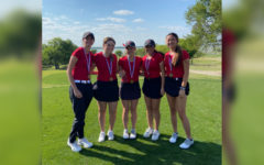 Finishing in 3rd place at the 5A Region II girls' golf tournament in Rockwall, the Redhawks team                                 claimed a spot in the state tournament with a score of 108, four strokes behind Highland Park, and eight behind regional champion Lebanon Trail.