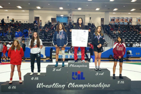 Finishing atop the podium in the 110 lbs, senior Stephanie Qiu won the 5A Region II championship Saturday at Rock Hill High School. Qiu
