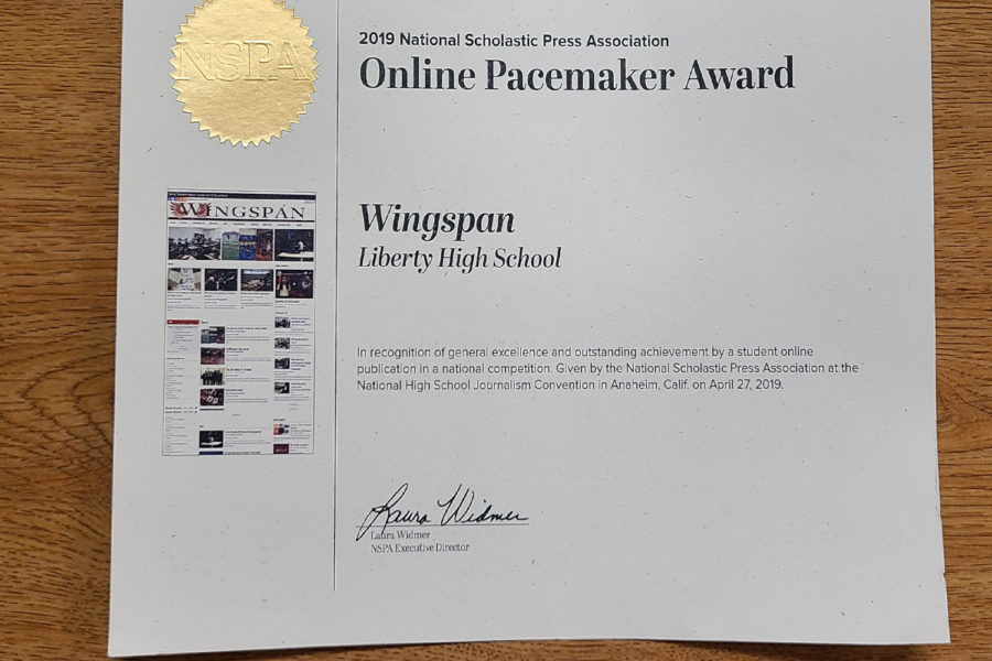 """For the 6th year in a row, the National Scholastic Press Association has named Wingspan a Pacemaker.  The Pacemaker is one of the highest honors for high school publications in the country.   """"I'd say that the main thing that sets us apart is that we don't view ourselves as just a high school newspaper, but rather a real daily paper,"""" editor-in-chief, senior Aaron Boehmer said. """"We put in the same effort and structure as say, the community impact or the Dallas Morning News, with deadlines and goals, prioritizing both quality and quantity."""""""