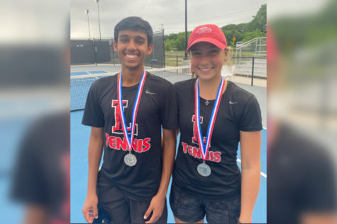 Sophomores Sanjeev Rao and Milla Dopson compete in the Texas UIL 5A mixed doubles state competition Thursday at 8:00 a.m. in San Antonio at the Northside Tennis Center.
