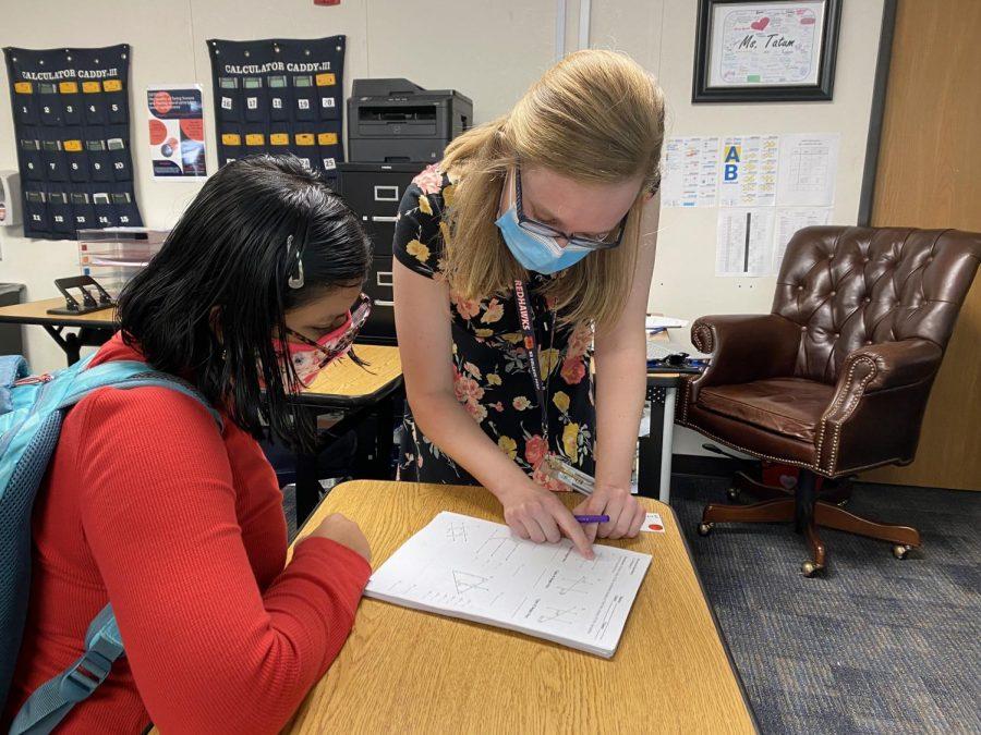 This is new teacher Kristen Tatum, and she is a first-year teacher teaching Advanced Geometry and AP Statistics.