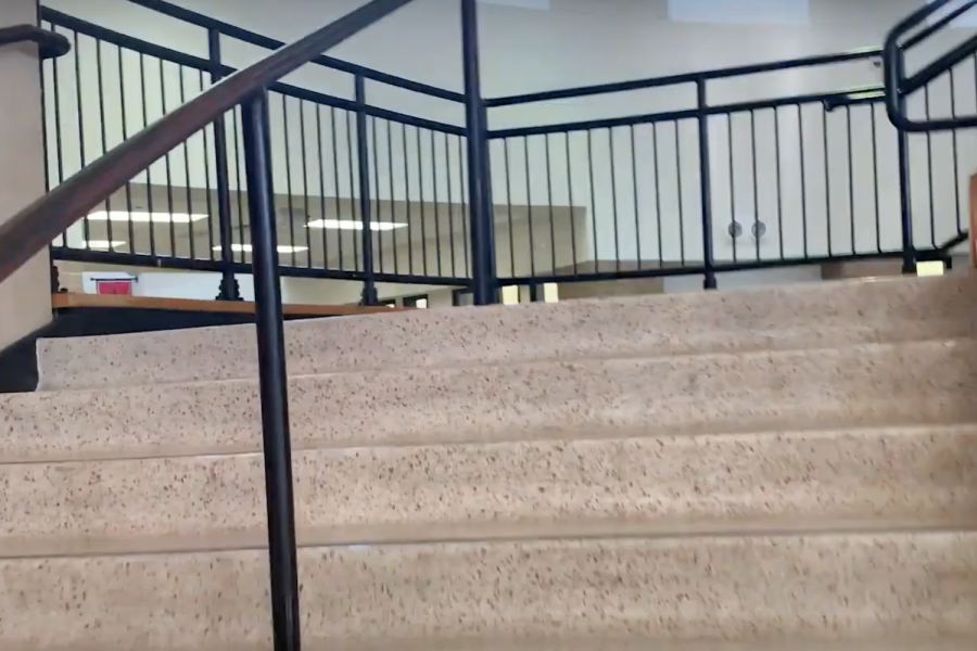 With approximately 2,000 students on campus, the main stairway in the C wing can get congested during passing periods. To help alleviate this, school administration is asking students to use the stairs at the end of each C hallway to go down to the first floor and the stairs near the cafeteria and library to go up to the 2nd floor.