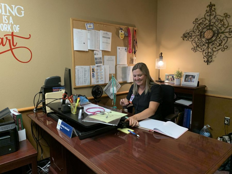 After getting a bachelors degree in nursing from UT Arlington, working in the cardiac department as a nurse at Texas Health Fort Worth, and subbing in as a school nurse for seven years, Lindsey McDavid is the new school nurse.