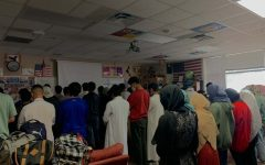 """Muslim students  read the Friday afternoon Jummah prayer on campus. """"There are five prayers that Muslims have to do every single day, and Jummah is the second prayer of Friday that we have to do,"""" Treasury Officer of the Muslim Student Association, junior Ifrah Zainab said."""